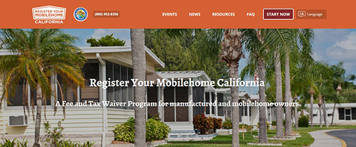Register Your Mobilehome California website